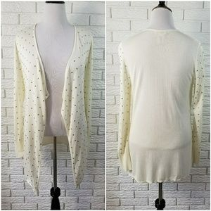 Cache Gold Studded Cardigan Sweater L Ivory